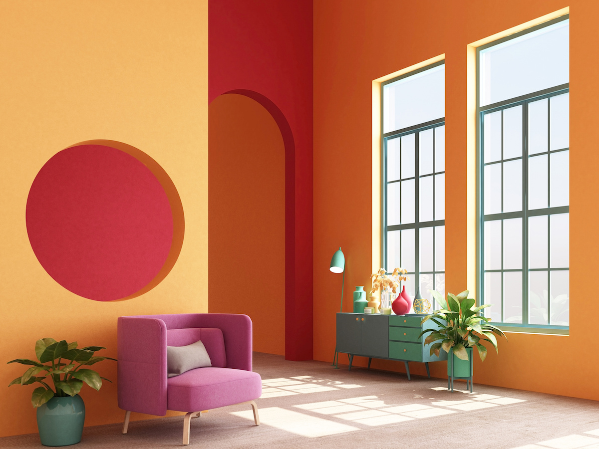 Interior concept of memphis design colorful, Armchair with console and prop. 3d render