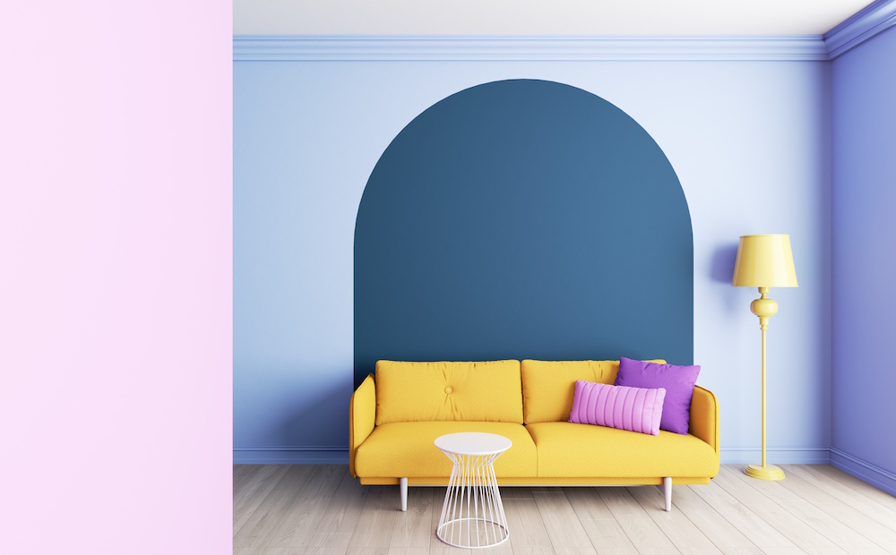 Colorful interior with arches. Interior layout with furniture. 3D visualization of the interior in rich colors.